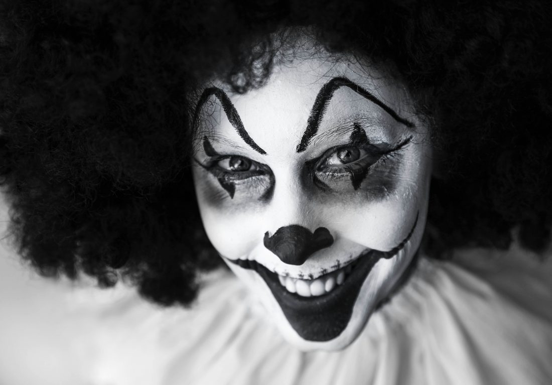 black-and-white-close-up-clown-39242
